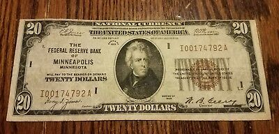 Series 1929 $20 Federal Reserve Bank note of **Minneapolis, MN **