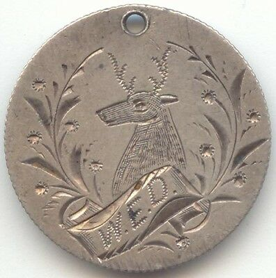 Seated Liberty Dime Pictorial Love Token,1888,Deer,Antlers,Buck,Initials W. E. D