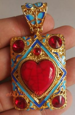 China's Tibet silver inlay cloisonne & zircon by hand pendants  z1