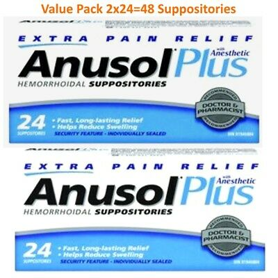 2 x 24 Hermorrhoid Suppositories Anusol Plus Extra Pain Relief with Anesthetic