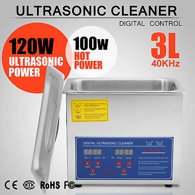 New Stainless Steel 3 Liter Industry Heated Ultrasonic Cleaner Heater Timer