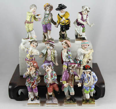 COLLECTION of 12 ANTIQUE KPM BERLIN PORCELAIN MONTH FIGURES FIGURINES