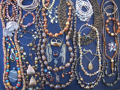 Lot Of Vintage/now Costume  Jewelry Beautiful Browns Bronzes Copper Nice