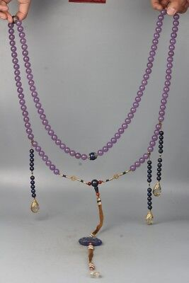 Chinese Exquisite Hand carved Purple crystal beads necklace Pendant