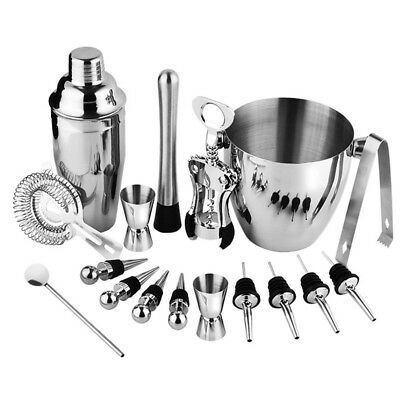 Bartender Kit, 17 Pieces Cocktail Bar Set Stainless Steel Shaker Set includ C6Q5