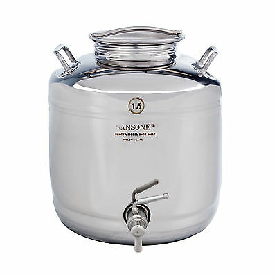 Sansone Europa iNOX 18/10 -15L Stainless Steel NSF Certified Fusti with Lever