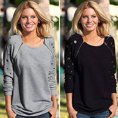 US STOCK Winter Elegant Women's Tops Round Neck Long Sleeve Shirt Blouse Hoodies