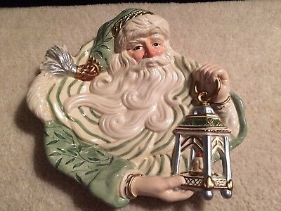 Fitz And Floyd Classics Green Gregorian Santa With Lantern Plate