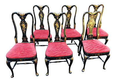 Set Of Six Queen Anne Chinoiserie Black Laquered Dining Room Chairs