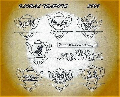 Floral Teapots iron-on transfers- giant 60cm x 45cm sheet- multiple times & uses