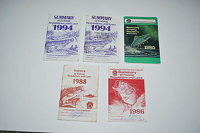 Lot of 5 Vintage Pennsylvania Fishing Regulations and Laws - 80's & 90's