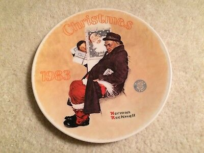 Norman Rockwell Christmas 1983  Santa In The Subway Collector Plate