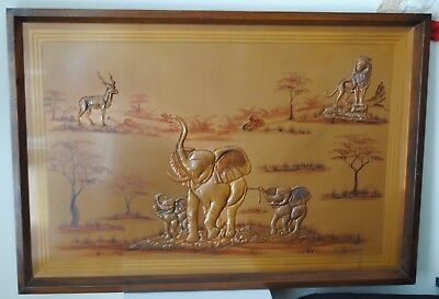 Vintage South African Copper Painting Raised Elephants Lion Wood Frame Wall Art