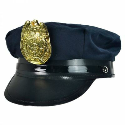Child Navy Blue Police Policeman Cop Officer Patrol Security Costume Hat Cap