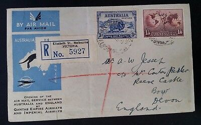 1934- Australia Air Mail Service cover to Devon England ties with nice Franking