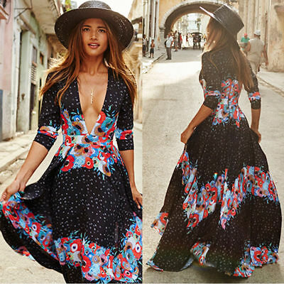 Fashion Summer Women Vintage Boho Long Maxi Evening Party Beach Floral Dress