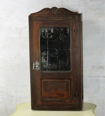 Vintage Hand Carved Wood Kitchen Medicine Apothecary Small Wall Cabinet mirror