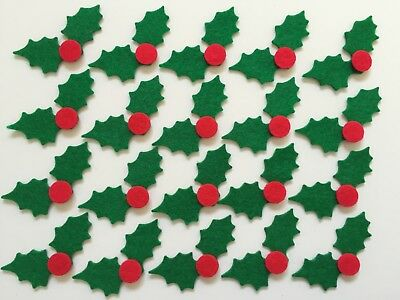 Felt Christmas holly shapes for crafts
