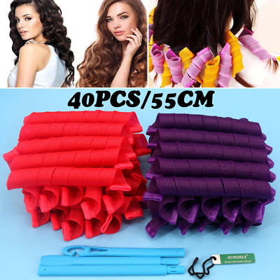 40Pcs Hair Curlers Twist Spiral Circle Curl Ringlets Magic Rollers Styling Tool