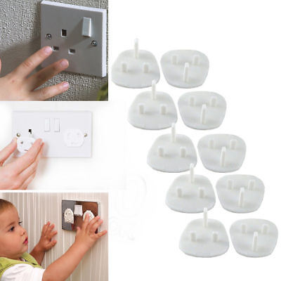 10 x Plug Socket Covers Kids Safety Protection for UK 3 Pin