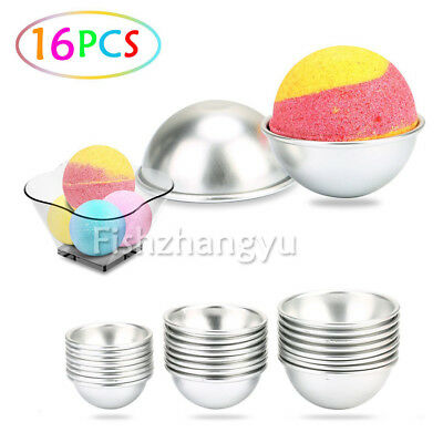 NEW 16PCS Round Aluminum Bath Bomb Molds Moulds DIY Homemade Crafting GIFTS AU
