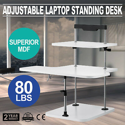 3 Tier Adjustable Computer Standing Desk Double Poles Mobile Tray Sit/Stand
