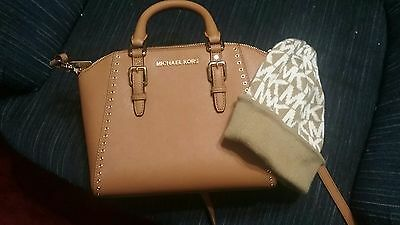c496d2f94501 Michael Kors Ciara Grommet Medium Satchel Messenger Acorn Leather NWT Hat  Cap