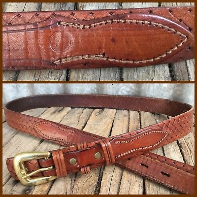 VINTAGE Woven LEATHER WESTERN BELT Retro 80's 90's