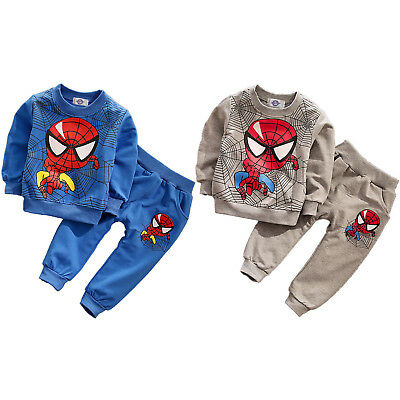 2PCS Kids Baby Boys Spiderman Hooded Clothes Coat Jumper Top + Pants Outfits Set