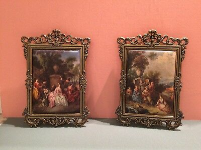 Pair of VINTAGE BRASS PHOTO FRAMES with SILK PRINTS MADE in ITALY - Wall DECOR