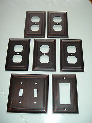 7 Modern Outlet & Switch Plate Covers - Metal Brushed Dark Reddish Copper Look