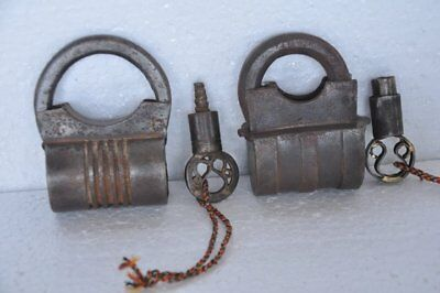 2 Pc Old 1930's Iron Handcrafted Solid Heavy Bag Shape Screw Padlock