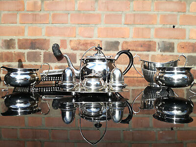 1900s BEAUTIFUL SILVER PLATED 6 PIECE TEA SET + salter and pepper mixed prod