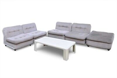 Amanta armchairs modular sofa, ottoman and side tables by B&B '66 Mario Bellini