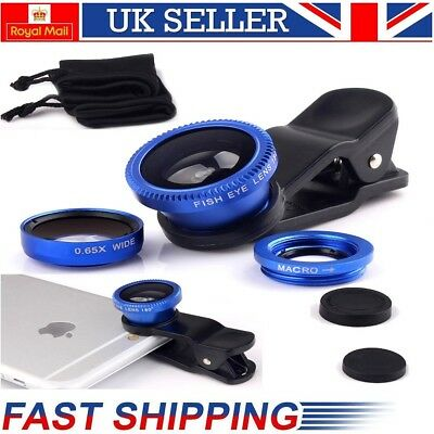 Universal 3in1 Clip Lens Kit Wide Angle Fish Eye Macro For iPhone Camera - Blue