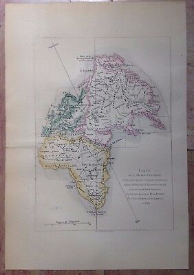 ANCIEN WORLD BY ROBERT DE VAUGONDY XIXe CENTURY ANTIQUE STEEL ENGRAVED MAP