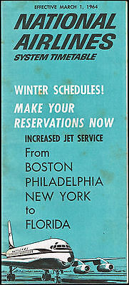 National Airlines Us Aviation Timetable 1964
