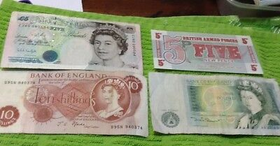 Four Old English Banknotes