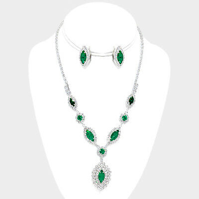 Sparkly green necklace set diamante rhinestone clip on earrings prom bridal 559