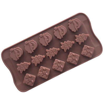 1pc Christmas Silicone Baking Chocolate Molds Santa Claus Snowman Rose Molds