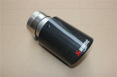 Akrapovic Style Carbon Fiber Car Exhaust Pipe 70mm-89mm Tip New