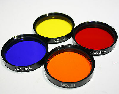 "2"" Farbfilter Set Rot 25 Gelb 12 Blau 80A Orange 21 Teleskop Foto Filter 2 Zoll"