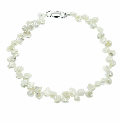 Keshi Pearl Bracelet Sterling Silver White Cultured Pearls