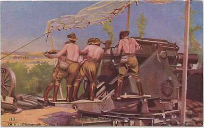 VINTAGE WW1 Official AUSTRALIA Picture POSTCARD 'HOT WORK BY AUSTRALIAN GUNNERS'