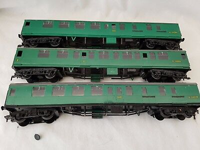 3 X Kitmaster Rosebud S.r/b.r Green Mk1 Coaches Made Unboxed