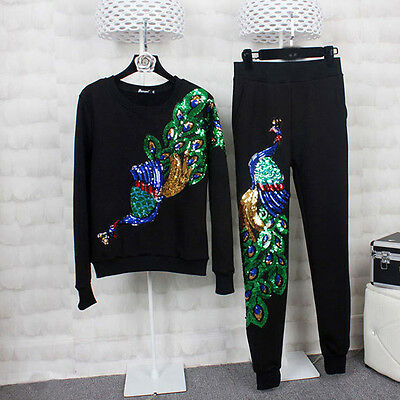 Embroidered Peacock Sequins Patches Applique Sew Iron On Badge Dress Decor DIY
