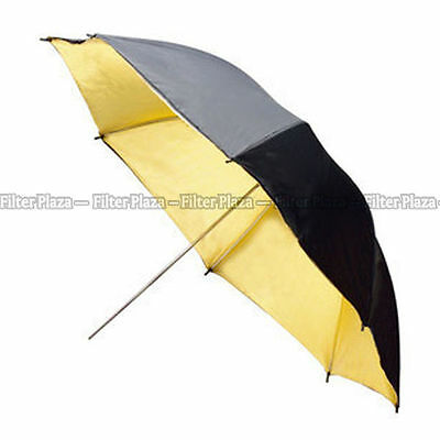 "33"" Studio Flash Light Reflector Black Gold Umbrella 83"