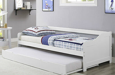 3ft Single Bed Day Bed White Frame Wooden with Trundle Solid Wood Daybed Pullout