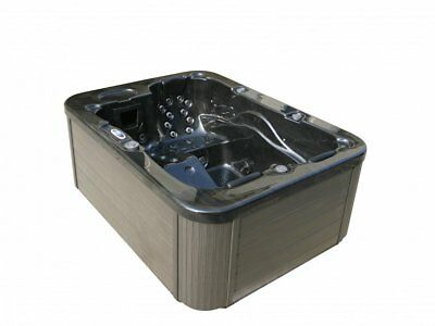 Outdoor Whirlpool negro con calefacción LED Ozono Hot Tub 2-3 persons PARA