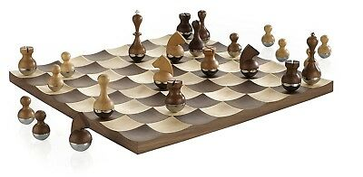 Large Wooden Chess Set Modern Novelty Board Game Pieces Unique Gift For Him Her